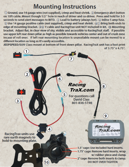 RacingTraX Mounting & Wiring Instructions